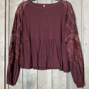 Free People Wine Long Sleeves Top Oversized XS NWT